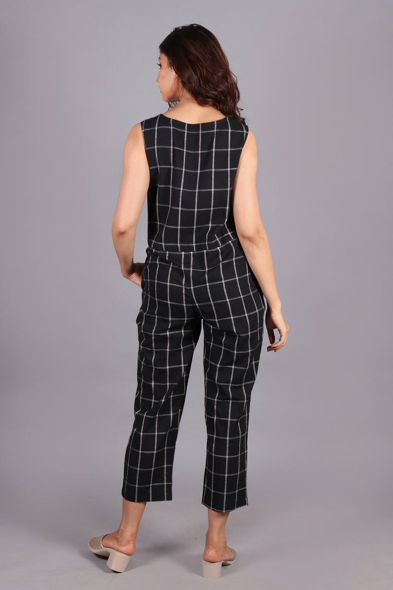 Black & white checkered jumpsuit