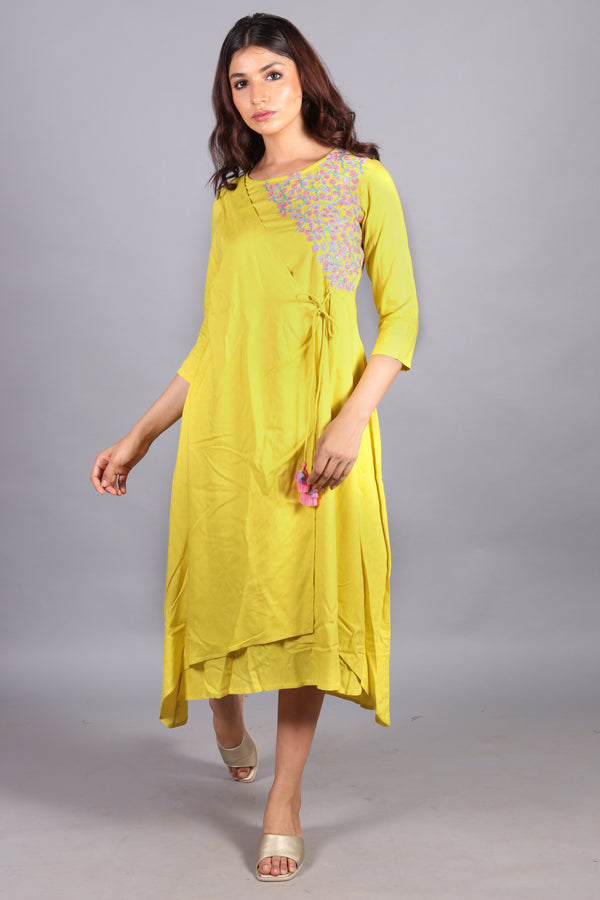 Self textured & embroidered neon kurta