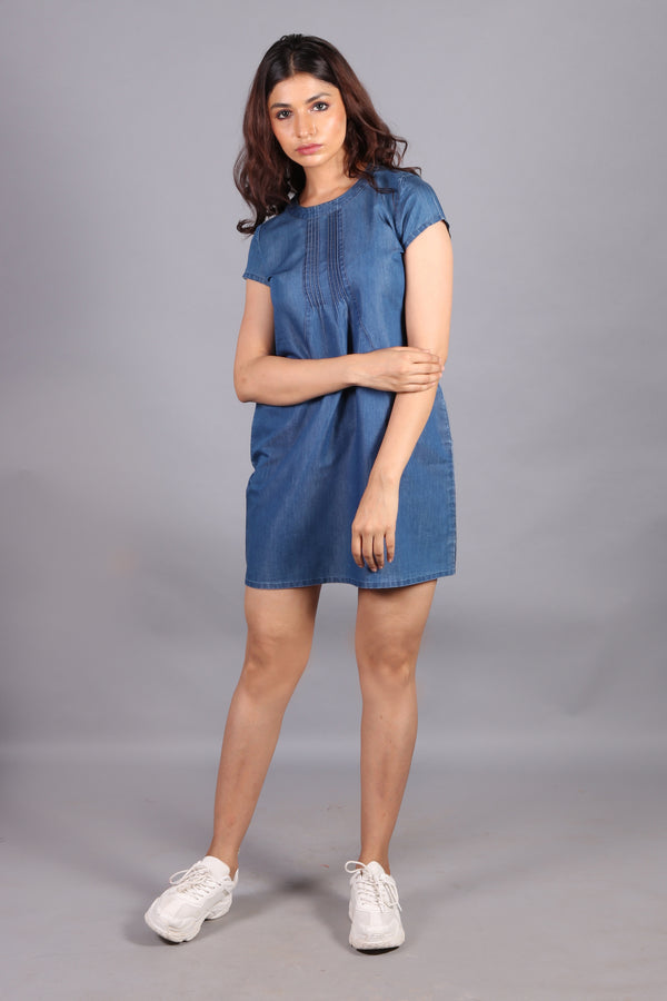 Denim front yoke with pockets dress