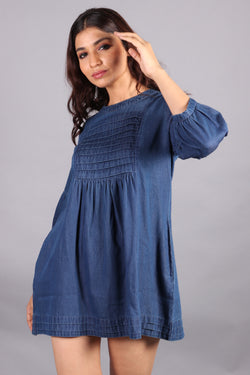 Denim front yoke smocking dress