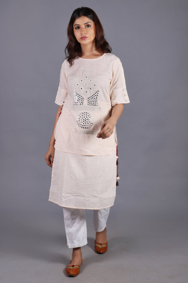 Cotton slub mirror work peach kurta