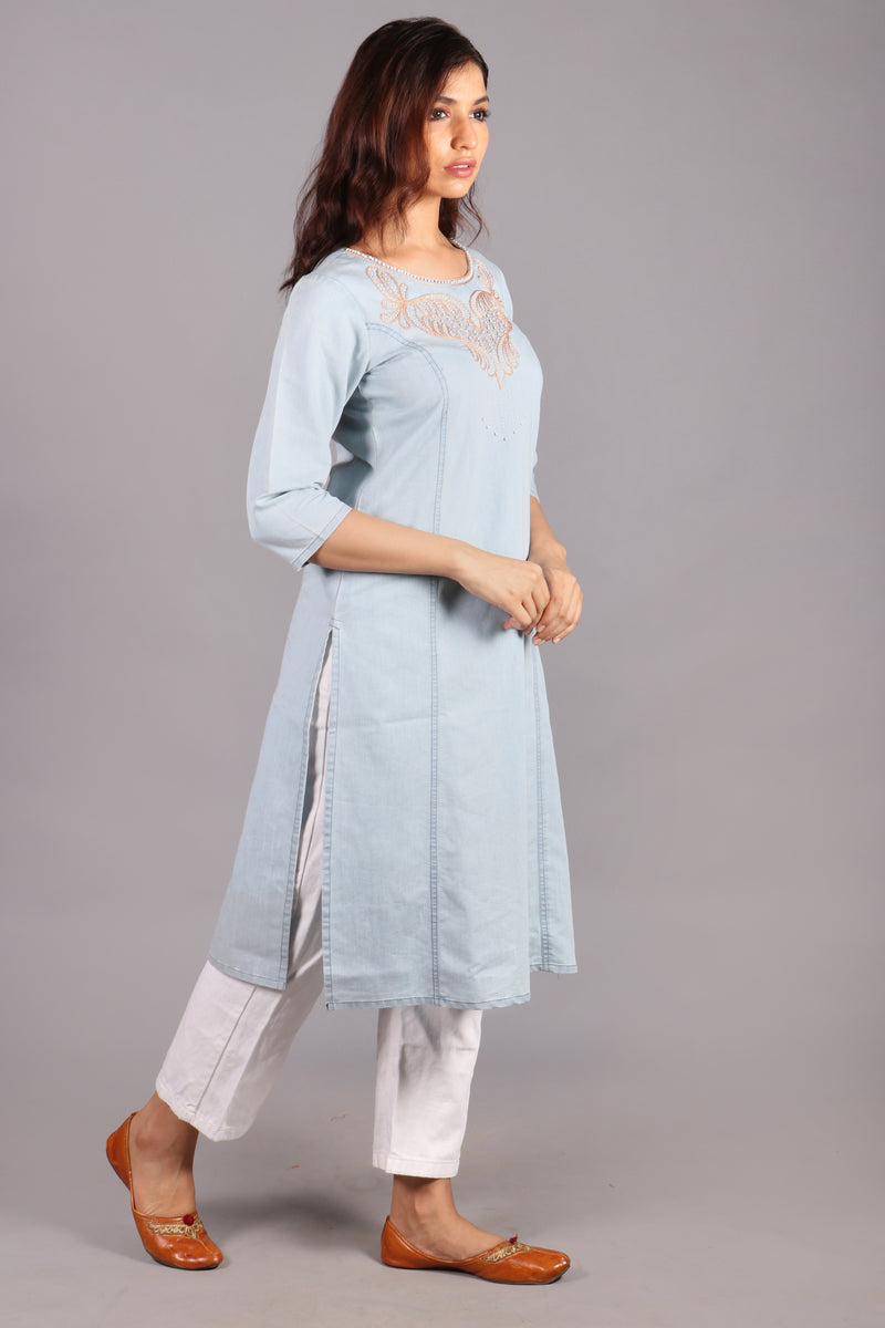 Denim front yoke embroidered kurta