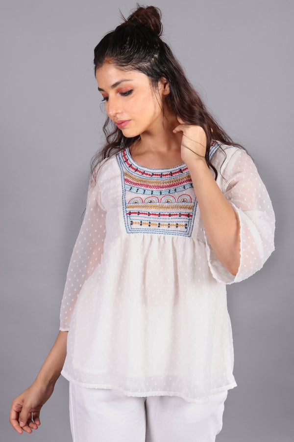 Front yoke buttoned embroiderd sheer top