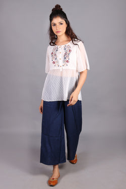 Tribal front yoke embroiderd with gathers top