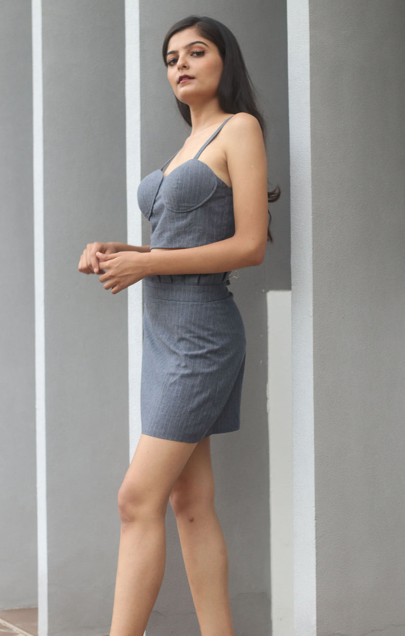 Smoky Grey- Bustier with skirt co-ord set