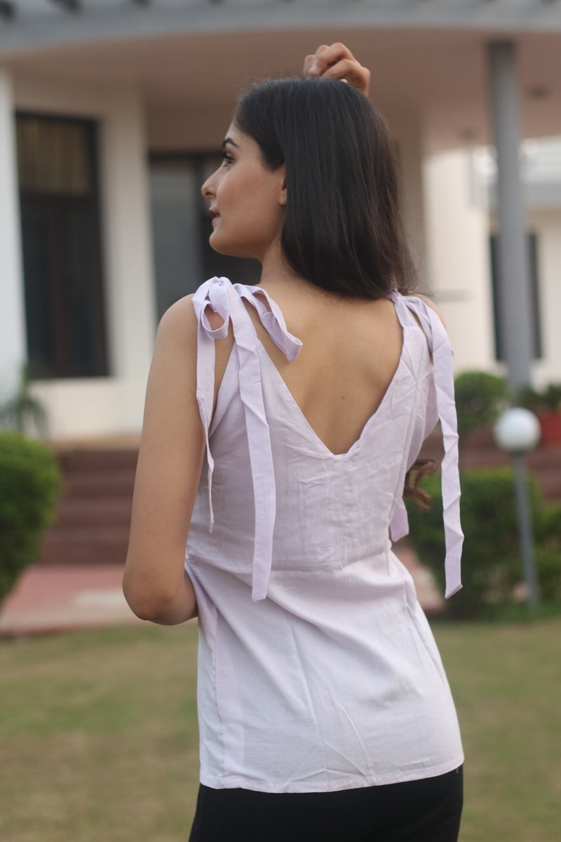 Pale Purple- Knotted shoulder top