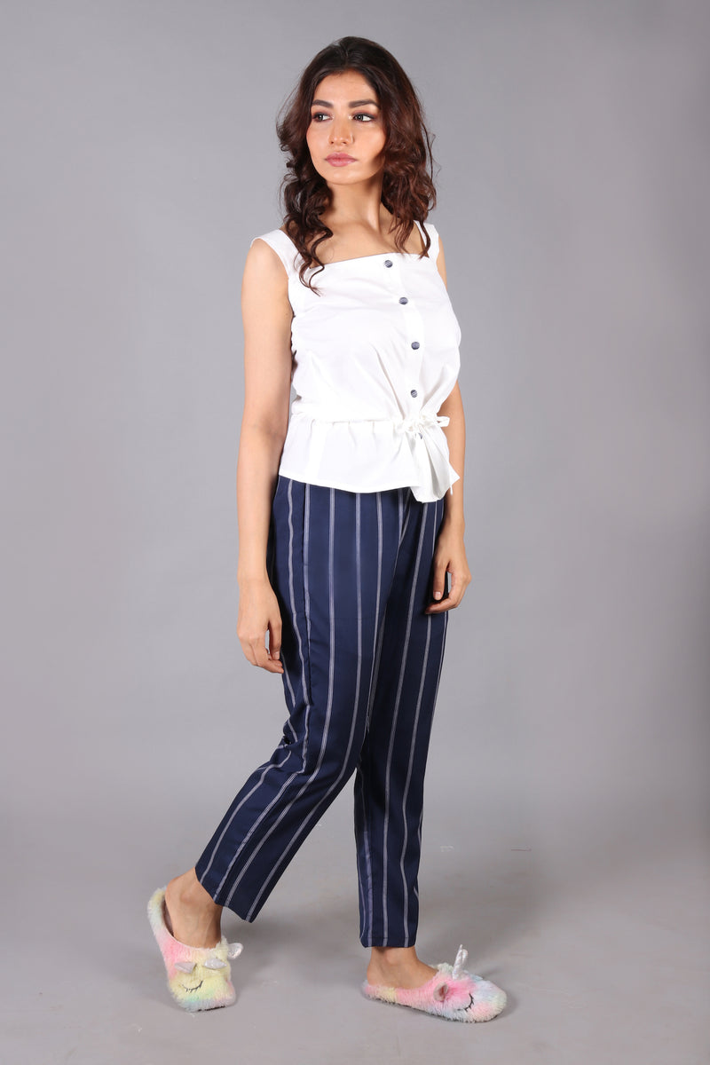 Striped pants with white waist gathered strappy top