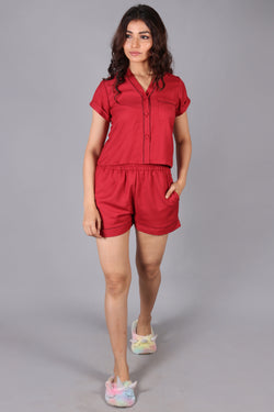 V- neck placket piping front button top with shorts