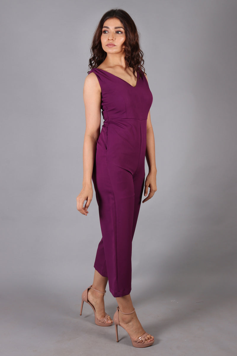 Shoulder bow deep purple fitted jumpsuit