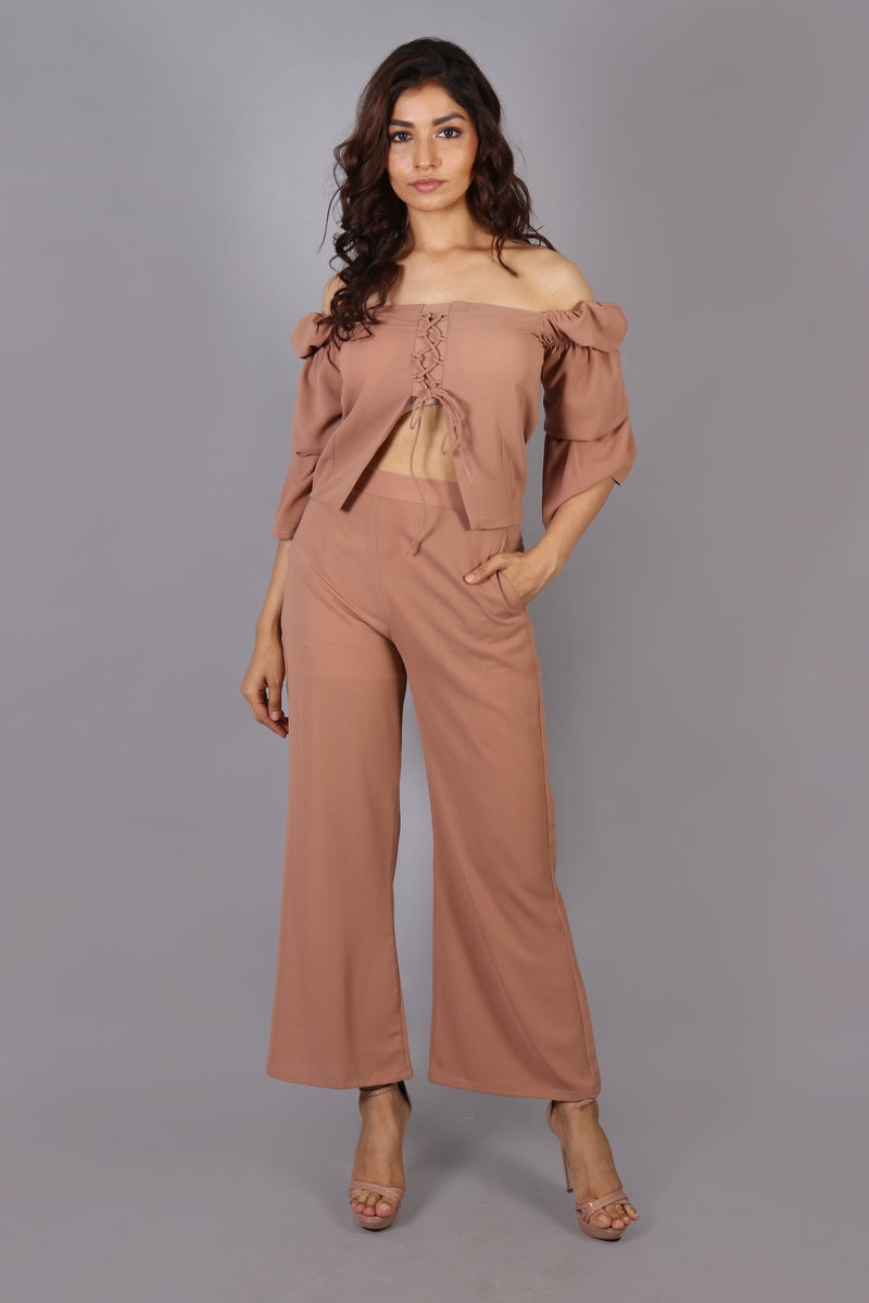 Bohemien style off shoulder front cut-out top with loose pants
