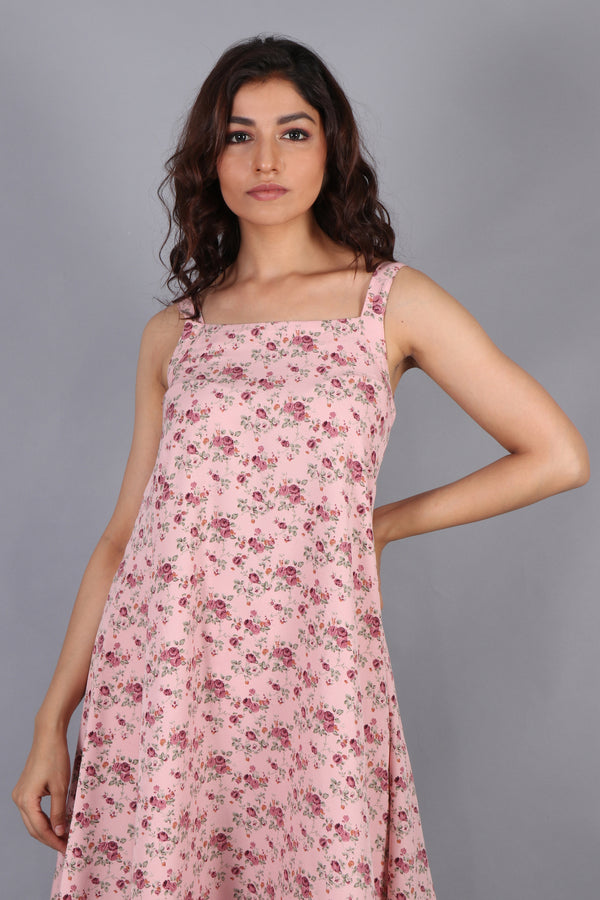 Floral midi with contrast hem