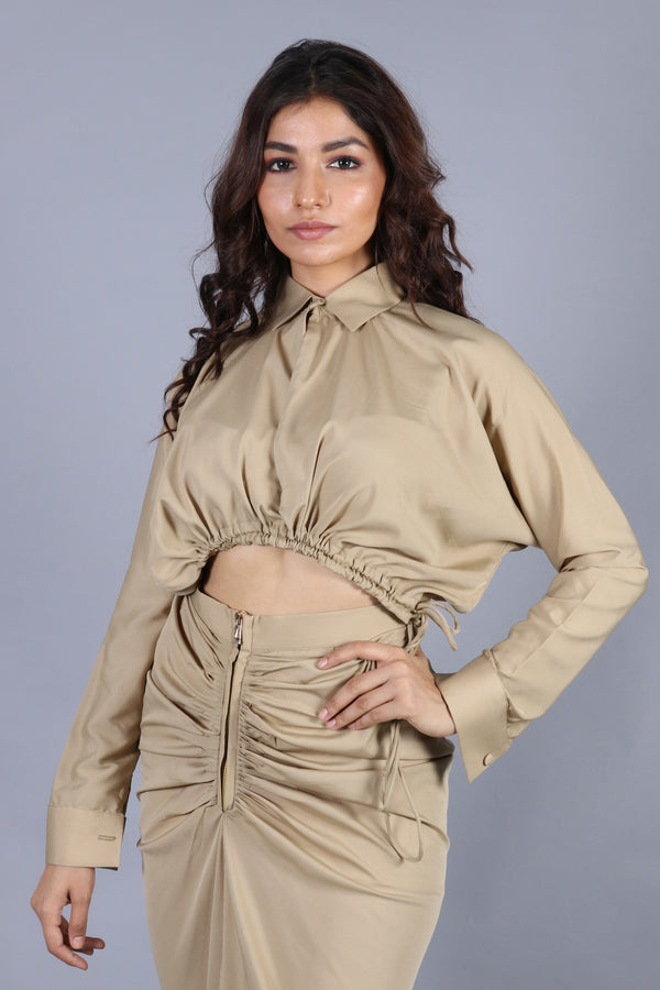 Khakhee bomber crop top with fish-cut skirt