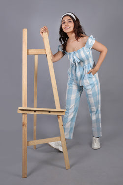 Smocked bodice checkered jumpsuit