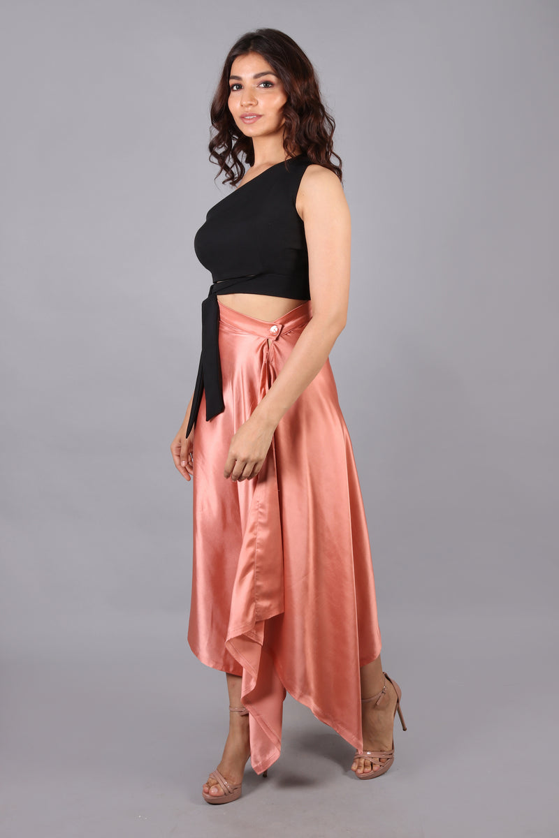 Satin Skirt with waist knot co-ord