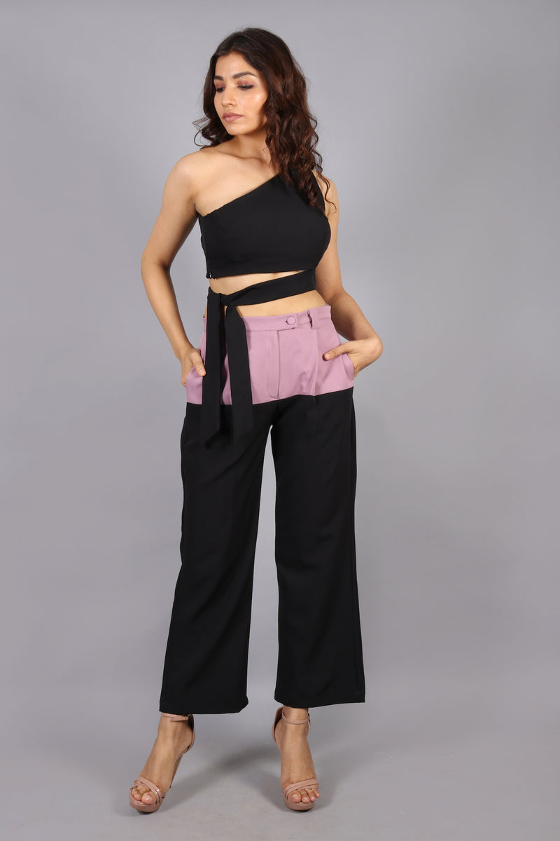 Colorblock pant with crop top