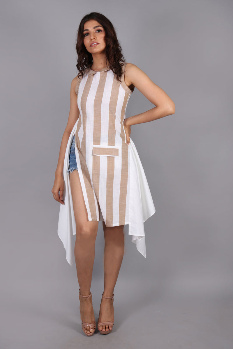Side slit striped-colorblocked top