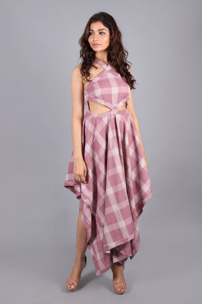 Waist cut-out asymmetric maxi