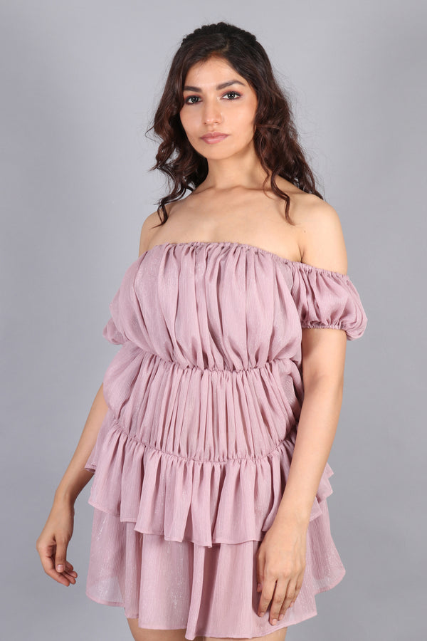 Gathered pleated off shoulder dress