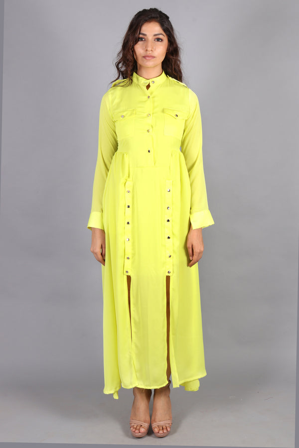 Front buttoned with slit neon maxi
