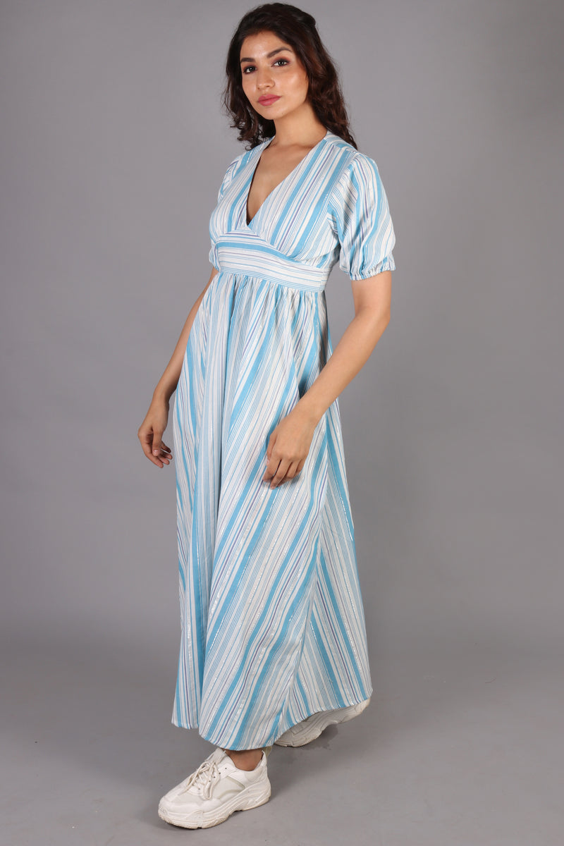 V-neck yoke belt stripped maxi