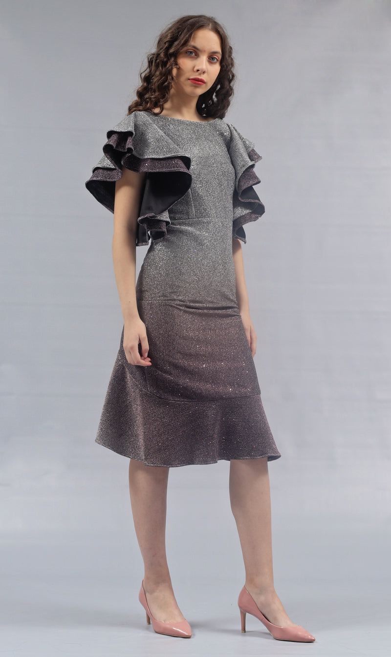 Alyssa - Lurex Ruffle Dress