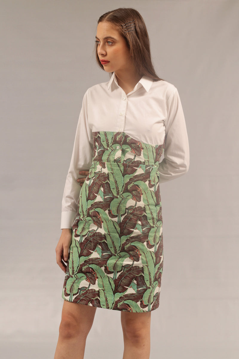 Tropical Print Corset Shirt Dress