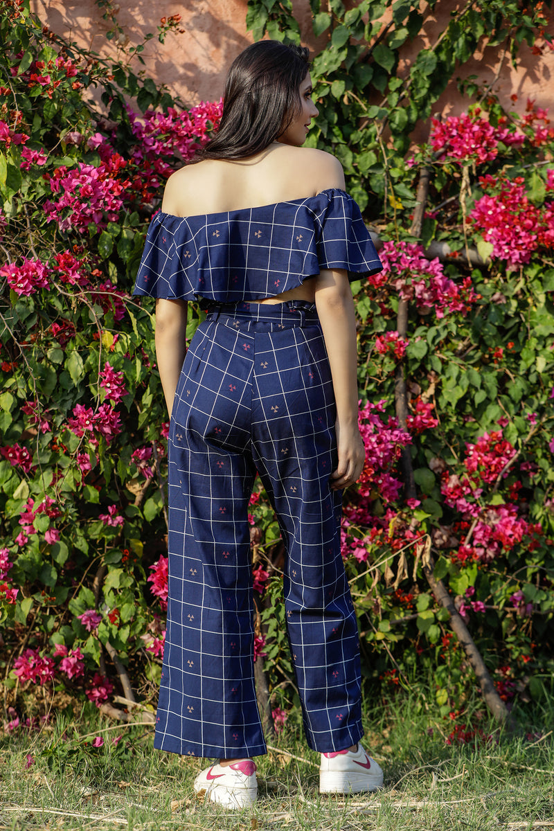 Checked Off Shoulder Co-ord