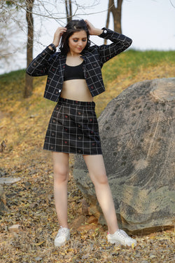 Checked Mini Skirt Co-ord