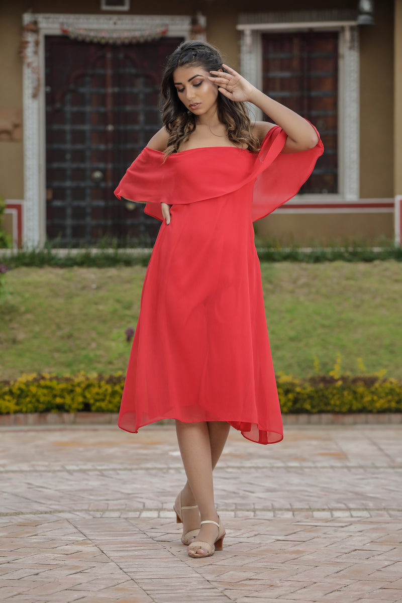 Off shoulder red midi