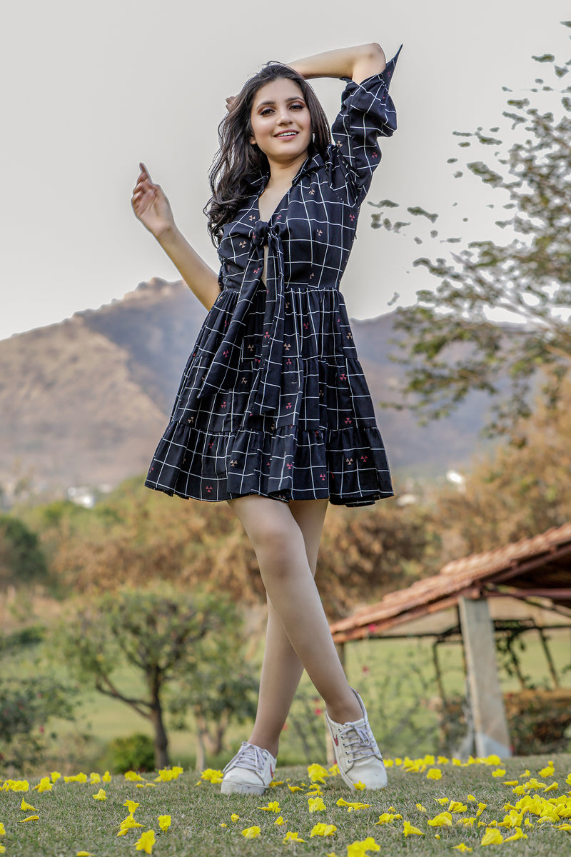 Front Knot Check Mini Dress