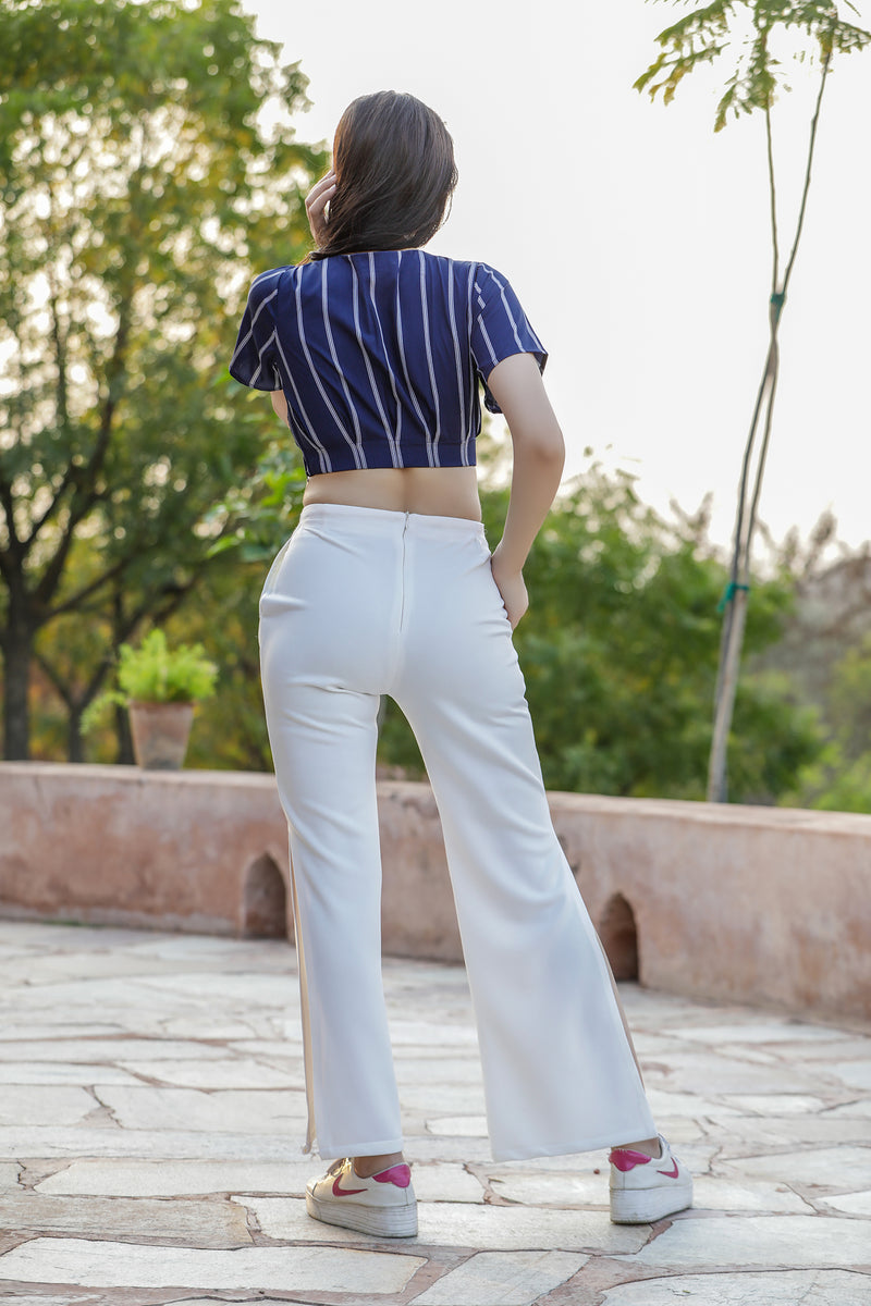 Slit Trouser Paired with Stripes Crop Top Co-ords