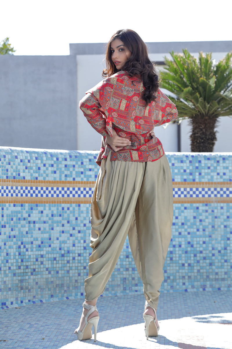 Shoulder Cape Blouse with Dhoti Co-ords