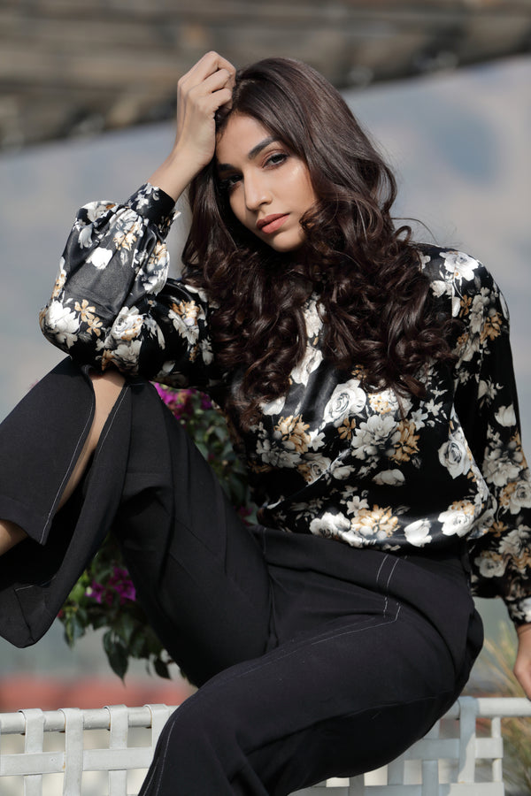 Black Floral Gathered Top