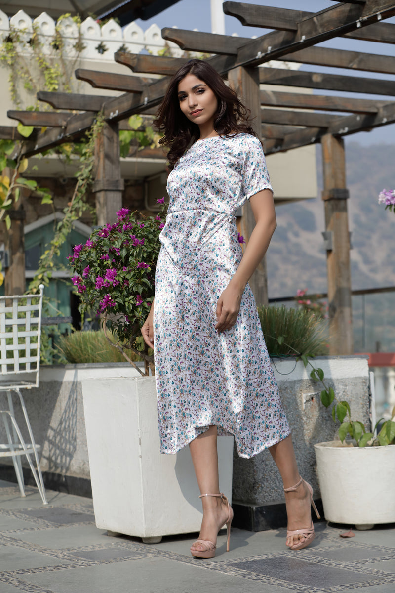 Printed High Low Front Seam Dress