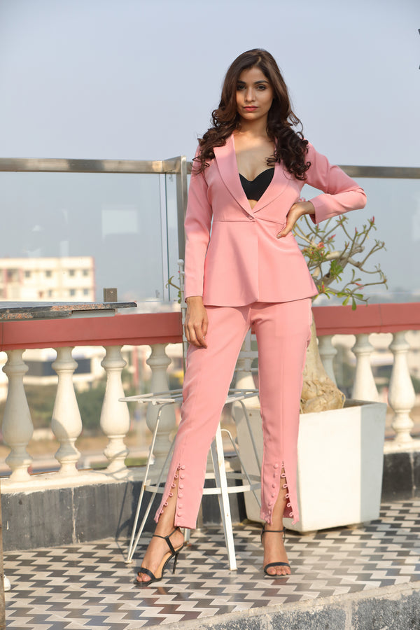 Peplum Blazer with Front Slit Trouser