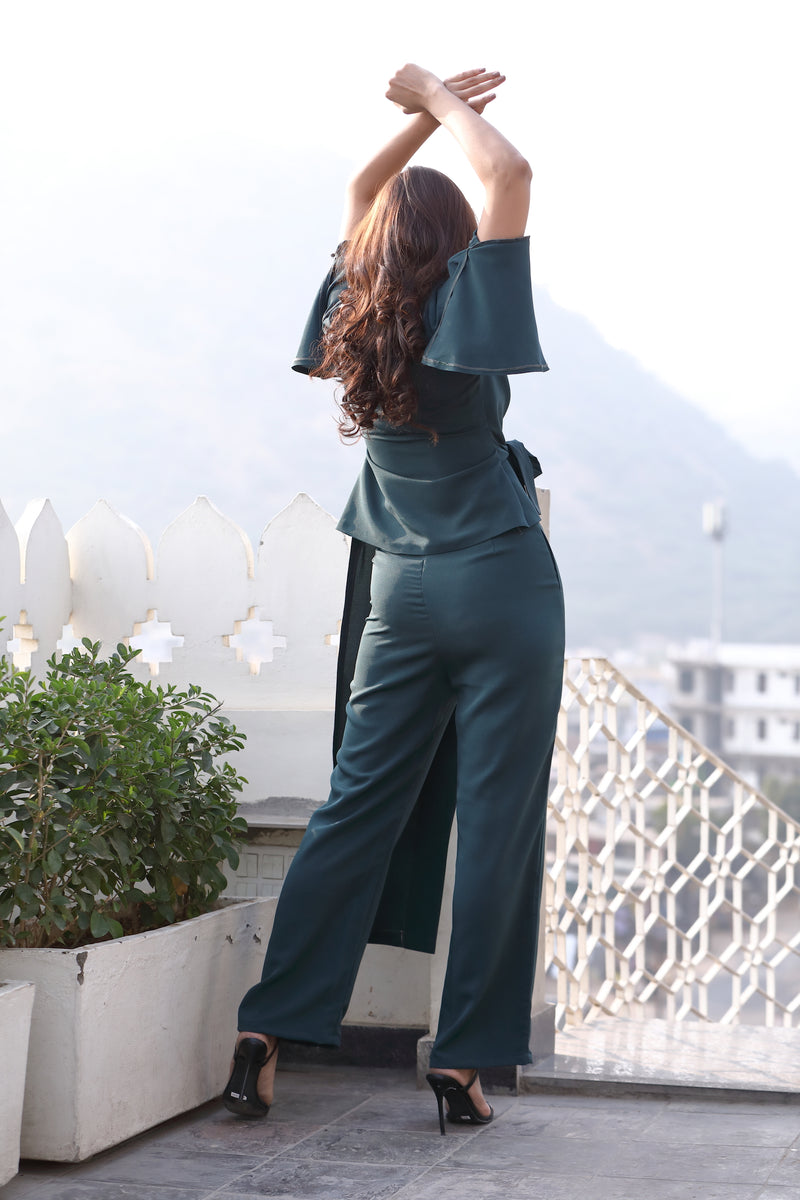 Irregular Flared Sleeve Side Knot Co-ord
