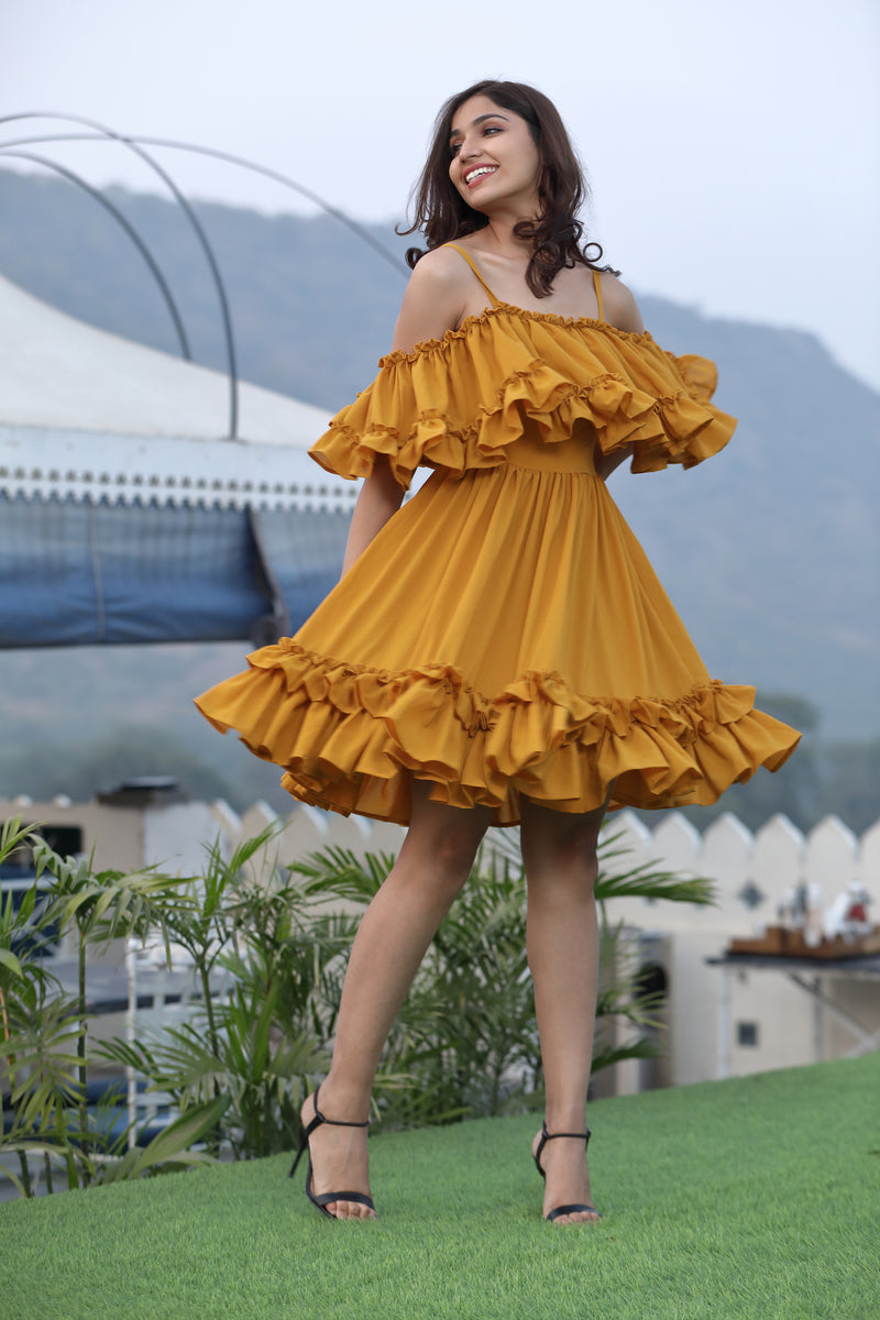 Short yellow layered ruffle dress