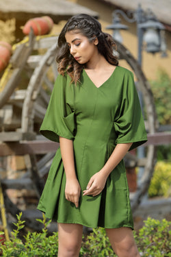 Bell sleeve side gather dress