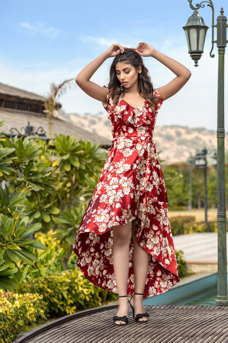 Floral hi-low ruffle V neck dress