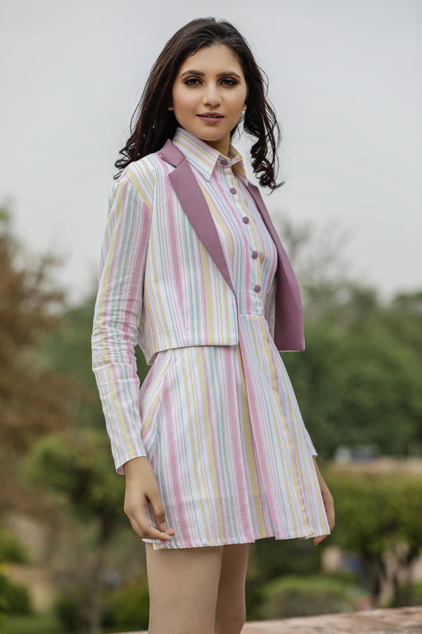 Multi Color Shirt Style Dress Co-ord