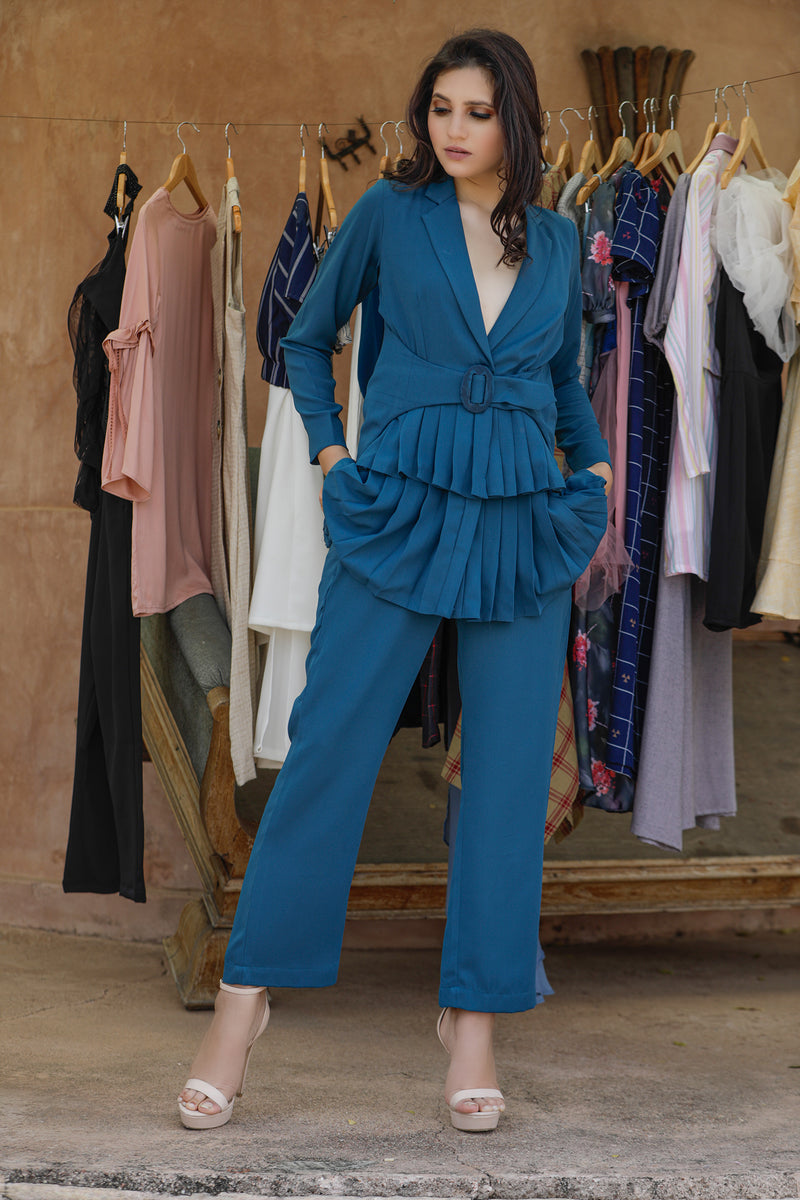 Front Pleated Blazer with Pants Co-ords