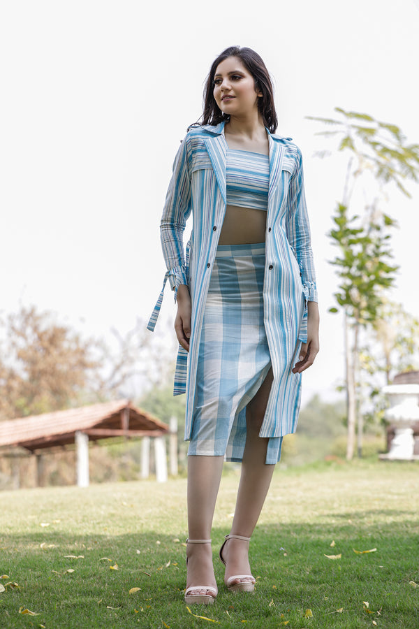 In Focus Light Blue Slit Skirt Co-ord