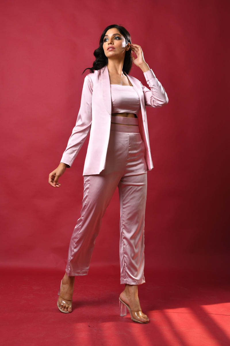 Satin pants & blazer with hem cut-out crop top