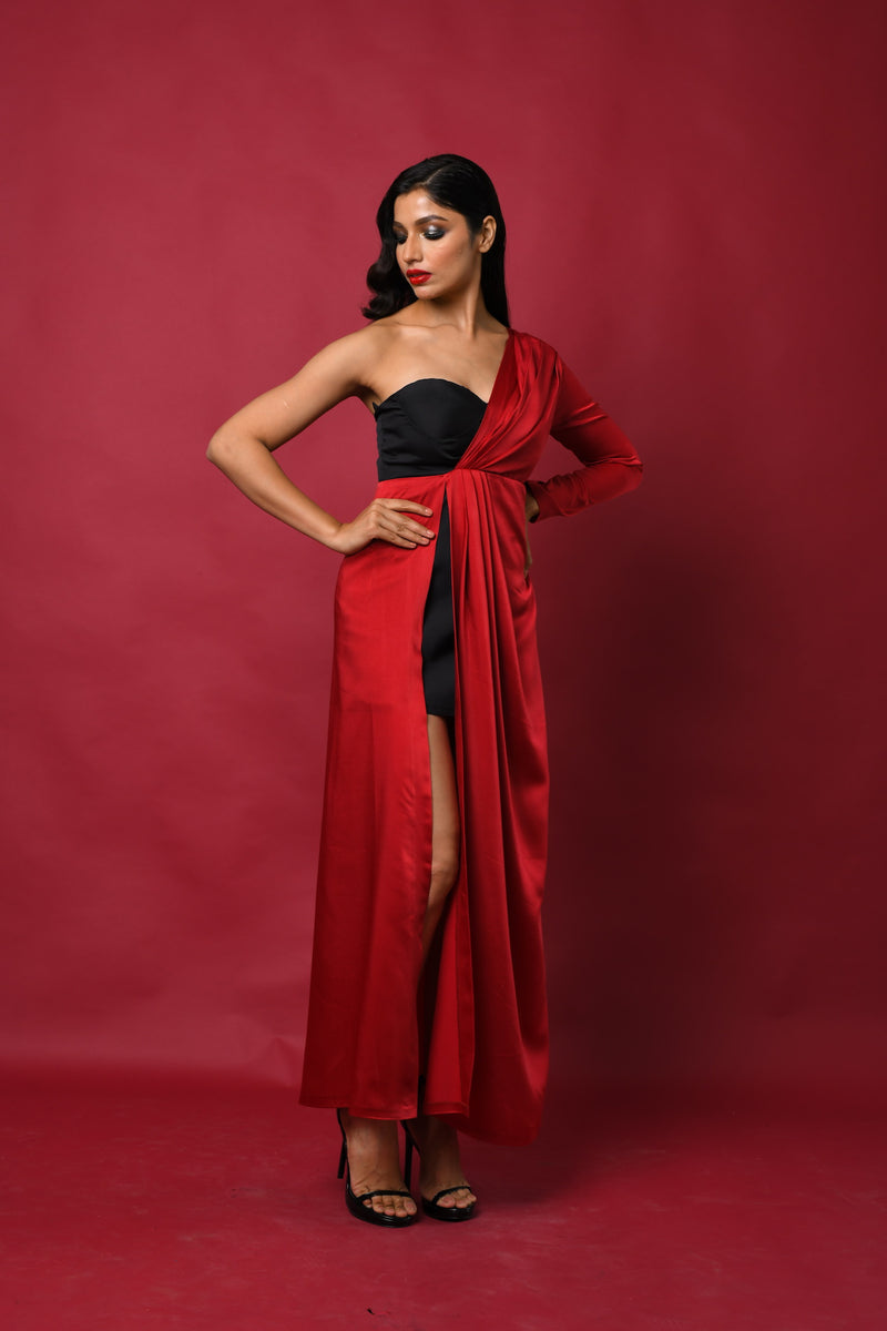 Color block one sleeve satin pleated wrap round gown
