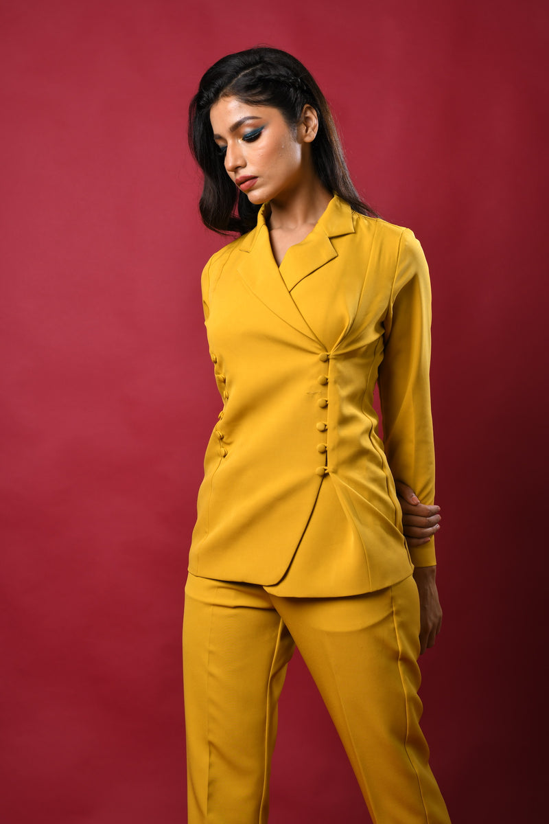 Yellow loop bottoned blazer & pants co-ords