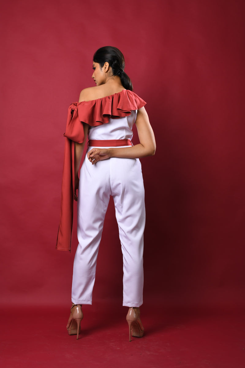 White & onion color block one side elongated ruffle sleep jumpsuit