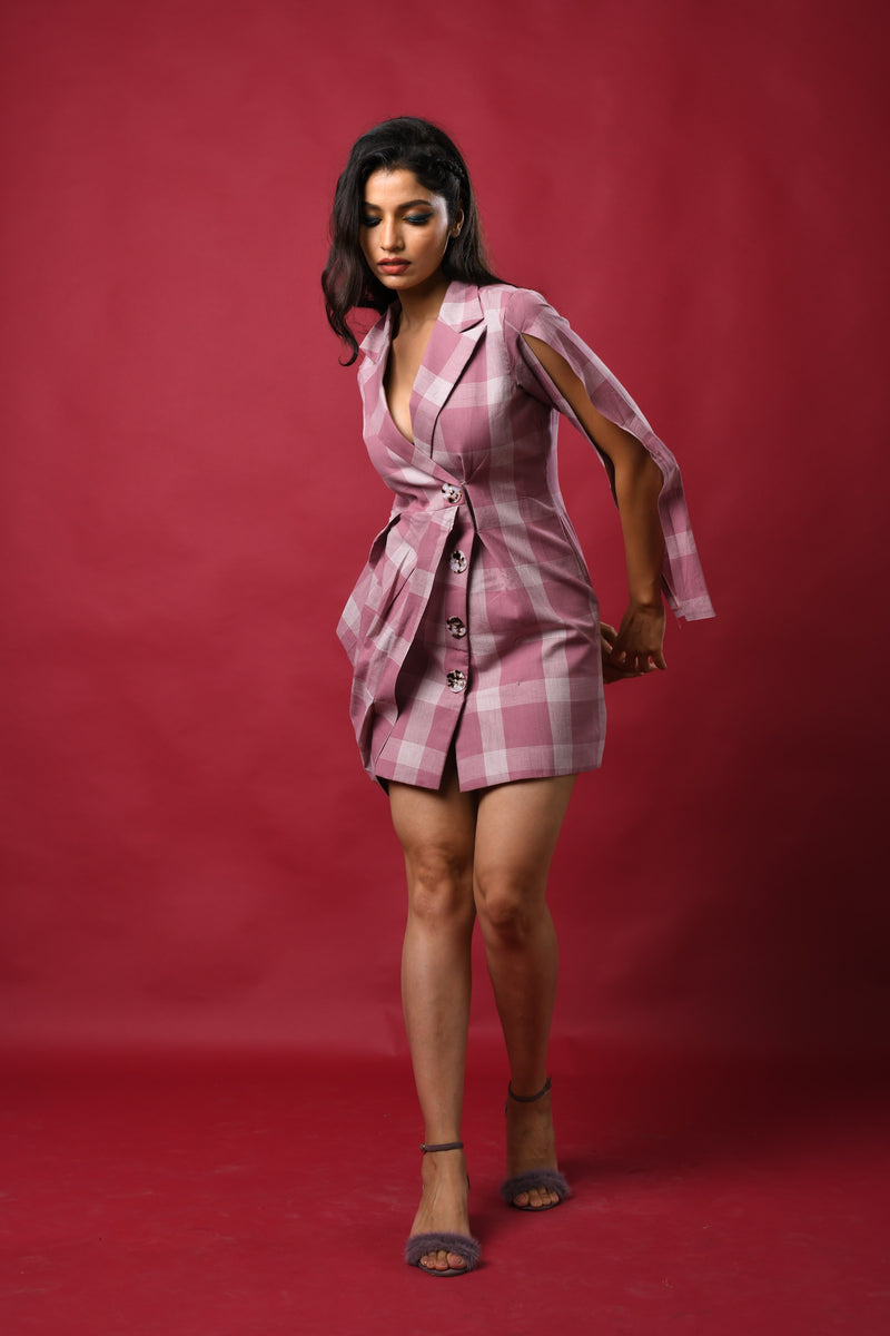 Checkered one side draped blazer dress