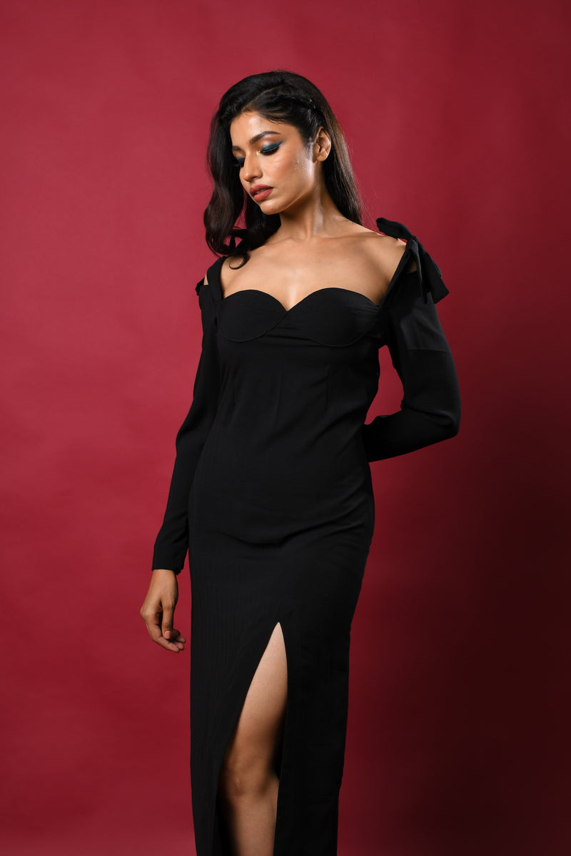 Bow tie shoulder with front slit midi dress