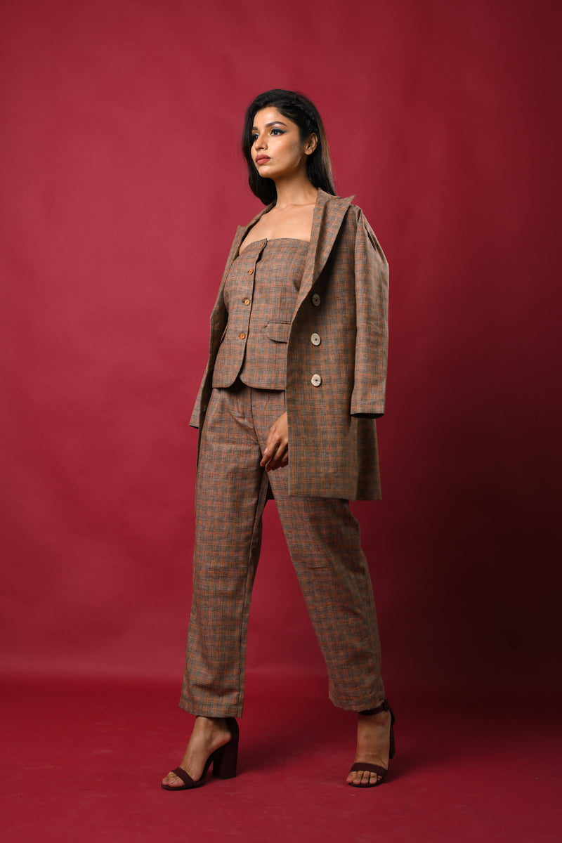 Three piece blazer pants with tube vest co-ord