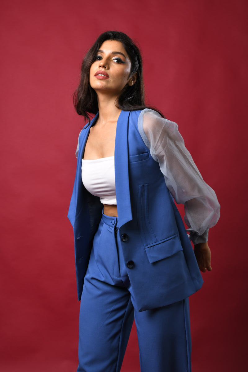 Organza sleeve blazer with corset seam line & pants co-ord